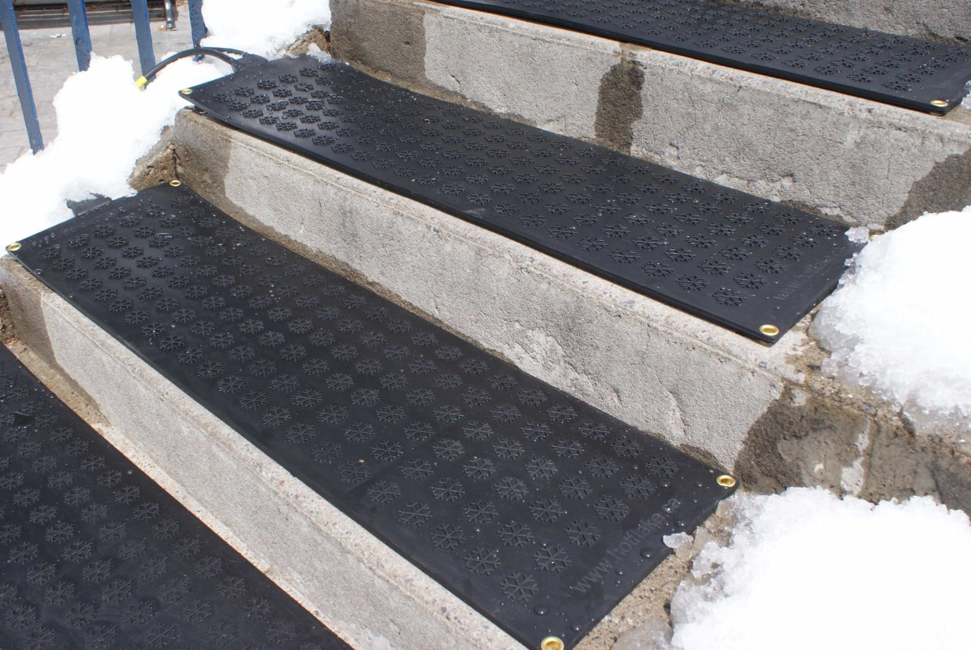 Alternate angle & Close up of HOTflake heating mats on stair case